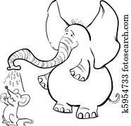 Clipart Afrikanischer Elefant Für Ausmalbilder K5954683 Suche