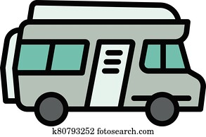 Motorhome icon, outline style