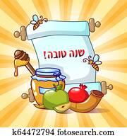 Rosh hashanah holiday concept background, cartoon style