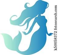 silhouette - mermaid