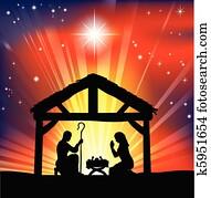 traditionelle, christliche, weihnachtsnativityszene