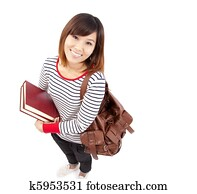 Young and Smiling Asian college student