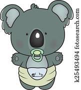 baby koala isolated on white