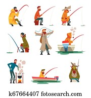 Fisherman Fishing with Fishing Rod and Cooking Soup on Bonfire Vector Illustration