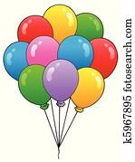 gesellschaft, von, karikatur, luftballone, 1