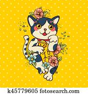 Happy Japanese cat Maneki-neko flowered.