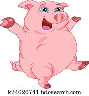 Clipart dessin anim cochon debout dans les boue - Dessin cochon mignon ...