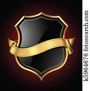 schwarz, gold, schutzschirm, und, schleifchen