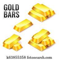 Set of gold bars icon, isolated on white background