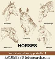 Set of hand drawing horses 1