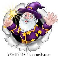 Wizard Breaking Through Background