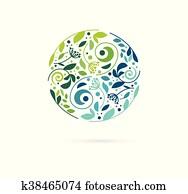 alternative,, chinesische medizin, und, wellness,, herbal,, zen, meditation, begriff, -, vektor, yin yang, icon,, logo