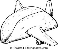 Outlined Empty Taco Shell as Jet Plane