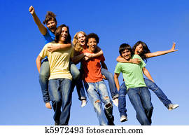 piggyback race of diverse teens