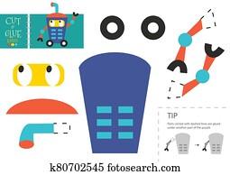 schneiden, und, klebstoff, papier, vektor, toy., lustig, robotic, zeichen, als, a, pappe ausschnitt, modell