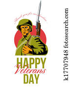 Veterans Day Greeting Card American WWII Soldier
