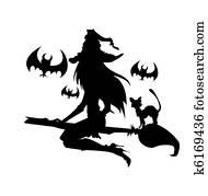 abbildung, von, a, hexe, mit, halloween, elements., eins, color.