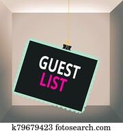Conceptual hand writing showing Guest List. Business photo text a list of showing who are allowed to enter the show or an event Stamp stuck binder clip square color frame rounded tip.