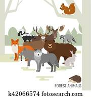 Forest animals composition. Moose, wild boar, bear, fox, rabbit, wolf, skunk, raccoon, deer, squirrel, hedgehog. Vector