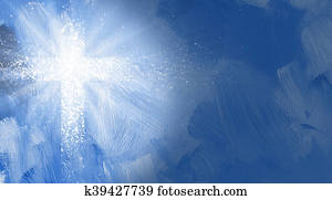 Graphic Christian cross with abstract rays of light.