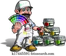 heimwerker, -, farbe, pflückend, lackierer, wei?e uniform