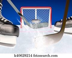 Ice hockey play on the ice.