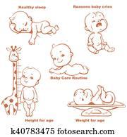 satz, von, monochrom, vektor, abbildungen, mit, niedlich, klein, babies.