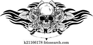 skull roses tribal