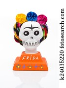 Souvenir of Frida Kahlo in a form of a skull