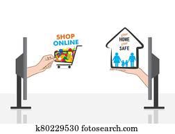 stay home stay safe shop online poster design