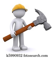 3D construction worker with hammer