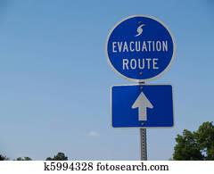 Blue Hurricane Evacuation Route Sig
