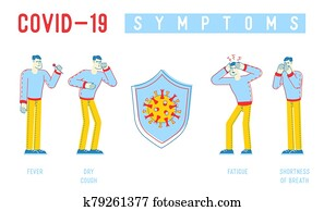 Coronavirus Infographics. People Characters with Mers-cov Symptoms as Dry Cough, Shortness of Breath, Fever, Fatigue, Chill. Medical for Informational Poster Banner Flyer. Linear Vector Illustration