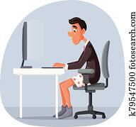Funny Business Man Working From Home Vector Cartoon