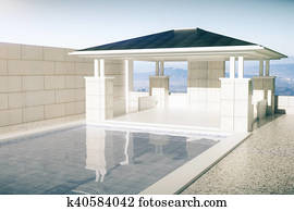 Luxurious swimming pool with patio