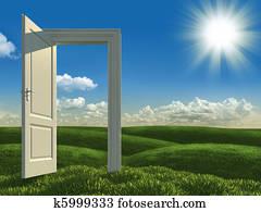 open white door to the meadows