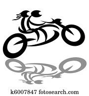 Bikers couple on motorcycle