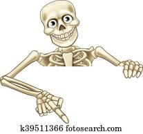 Cartoon Skeleton Pointing at Sign