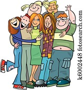 School teens group giving a hug