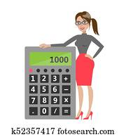 Woman with calculator.