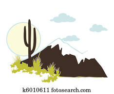 Cactus saguaro And Mountains. Vector