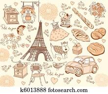 Collection symbols of Paris. Hand d