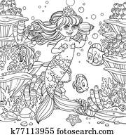 Cute little mermaid girl floats in water and listens shell on underwater world with corals, fish and anemones background outlined