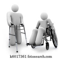 Disabilities - Disabled Person in Wheelchair and One wth Walker