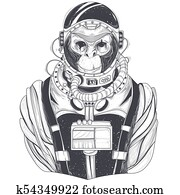hand drawn illustration of a monkey astronaut, chimpanzee in a space suit