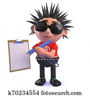Punk rock 3d cartoon character holding a clipboard and pencil
