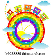 Abstract rainbow with toy train