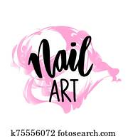 Nail art hand drawn logo design template.