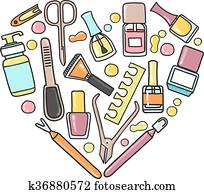 Vector doodle illustration of manicure and padicure equipment in a heart shape.