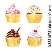 Cupcakes. Watercolor rastr illustration